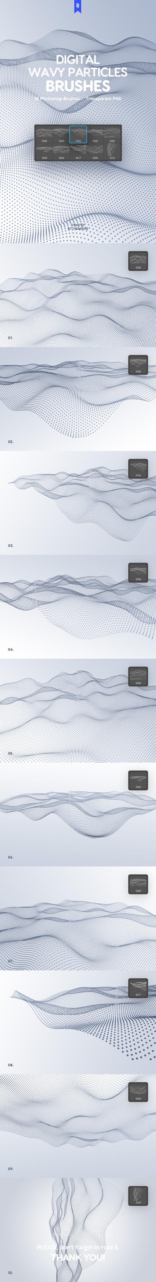 Digital Wavy Particles Photoshop Brushes - Techno / Futuristic Brushes