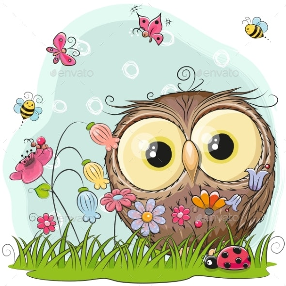 Cartoon Owl on a Meadow - Animals Characters