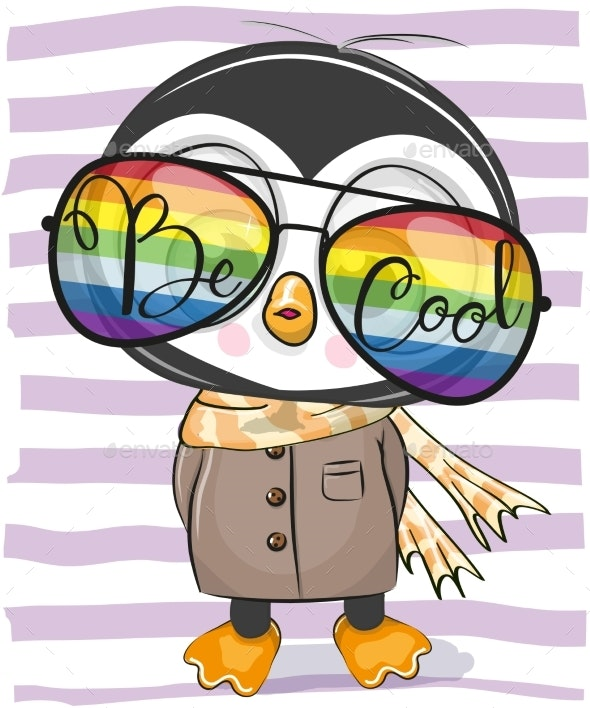Penguin with Sun Glasses - Animals Characters
