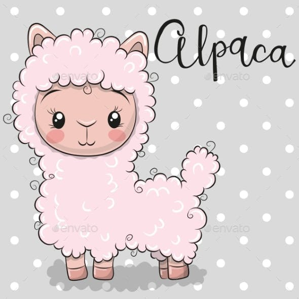 Cartoon Alpaca on a Gray Background