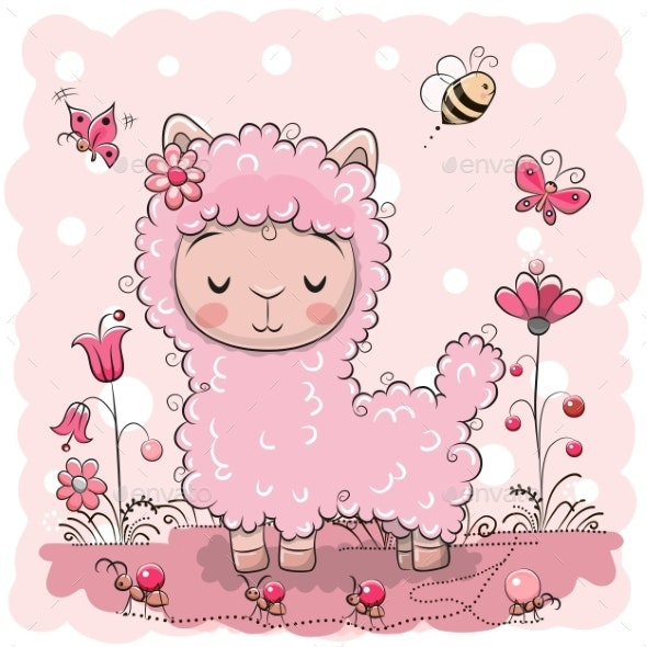 Llama with Flowers and Butterflies - Animals Characters