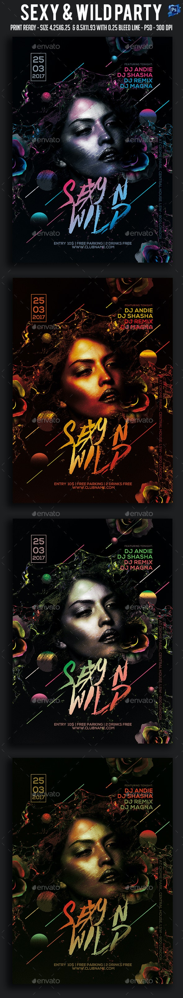 Sexy & Wild Party Flyer - Clubs & Parties Events