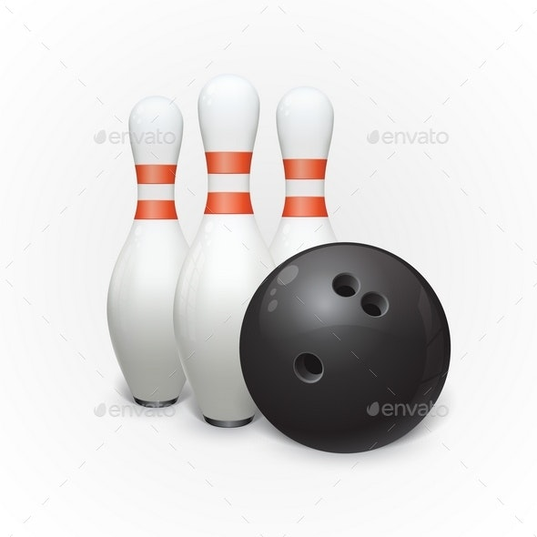 Bowling Ball and Skittles - Sports/Activity Conceptual