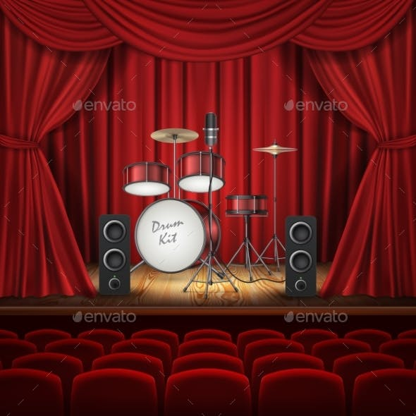 Vector Background with Drum Kit on Empty Stage