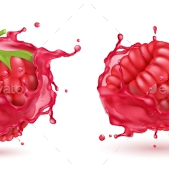 Vector Realistic Raspberries in Splashing Juice