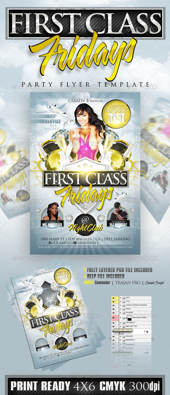 First Class Fridays Party Flyer Template - Clubs & Parties Events
