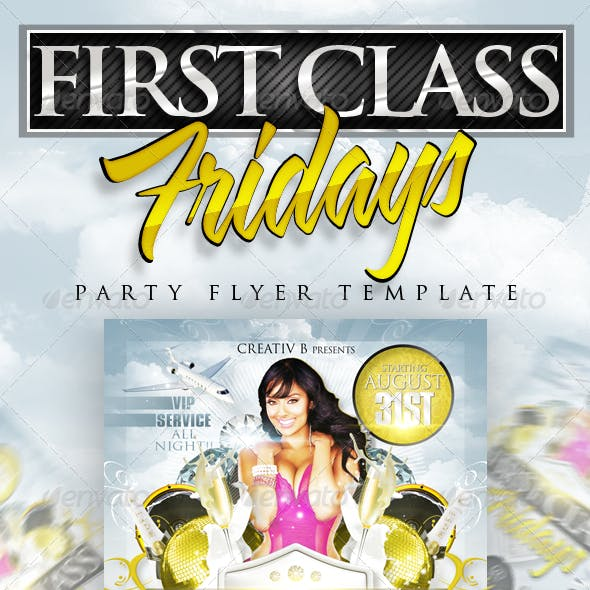 First Class Fridays Party Flyer Template