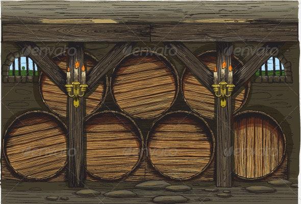 Old wine barrels - Food Objects