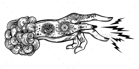 Flash Magic Inked Human Hand Sending Magic - Miscellaneous Conceptual