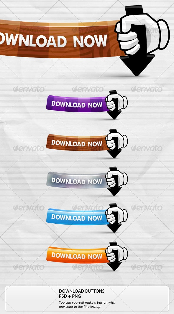 Download Buttons. Cartoon Style - Buttons Web Elements