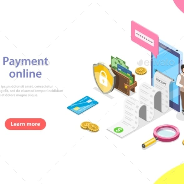 Payment Online Flat Isometric Vector Concept.