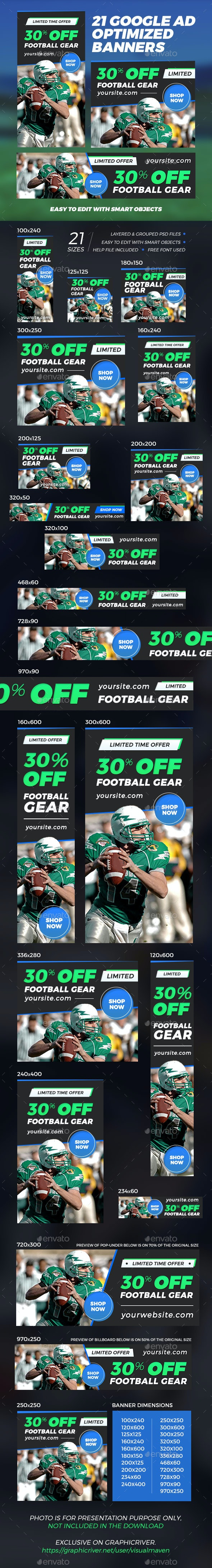 21 Sport Banner Ads - Banners & Ads Web Elements