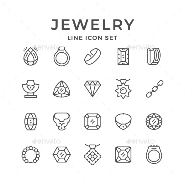 Set Line Icons of Jewelry - Man-made objects Objects