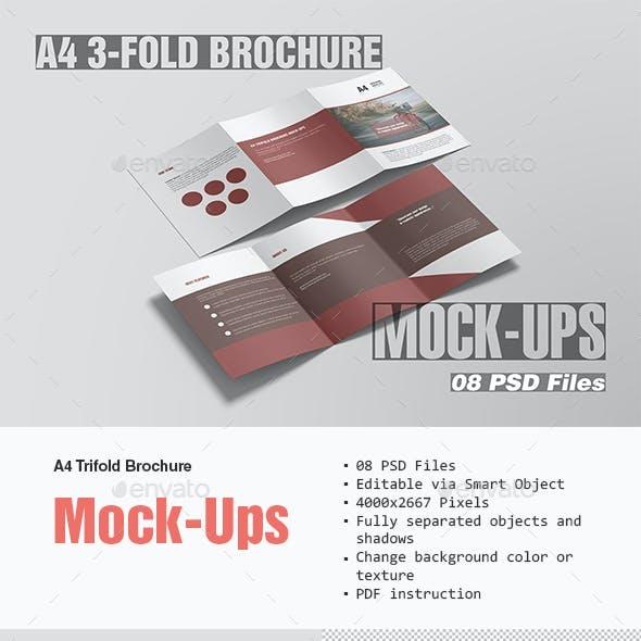 A4 Tri-Fold Brochure Mock-Ups