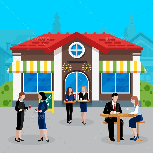Colored Flat Business Lunch People Concept - Food Objects