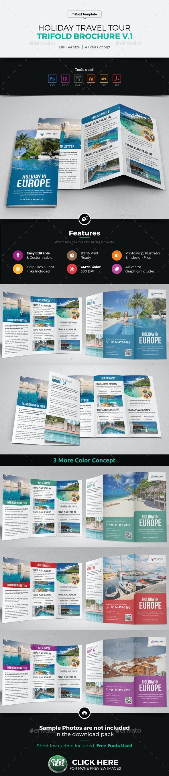 Holiday Travel Trifold Brochure Design v1 - Brochures Print Templates