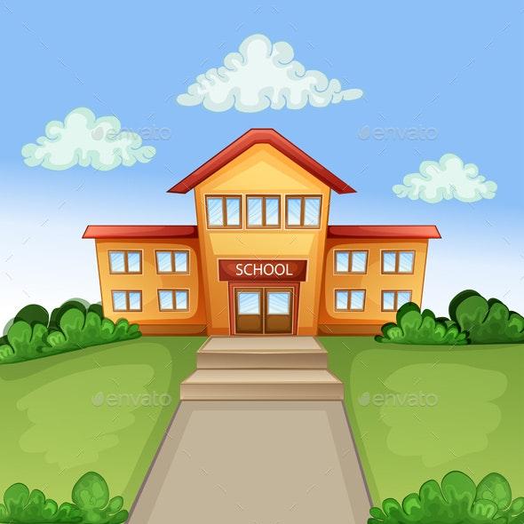 Illustration with School Building - Miscellaneous Vectors