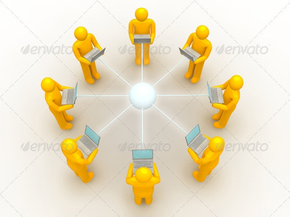 8 Men Using Laptop Network Connection - Technology 3D Renders
