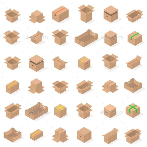 Set of Cardboard Boxes - Miscellaneous Vectors