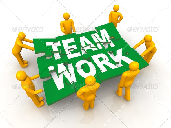 Group of Men Assembling Team Work Puzzle - Miscellaneous 3D Renders