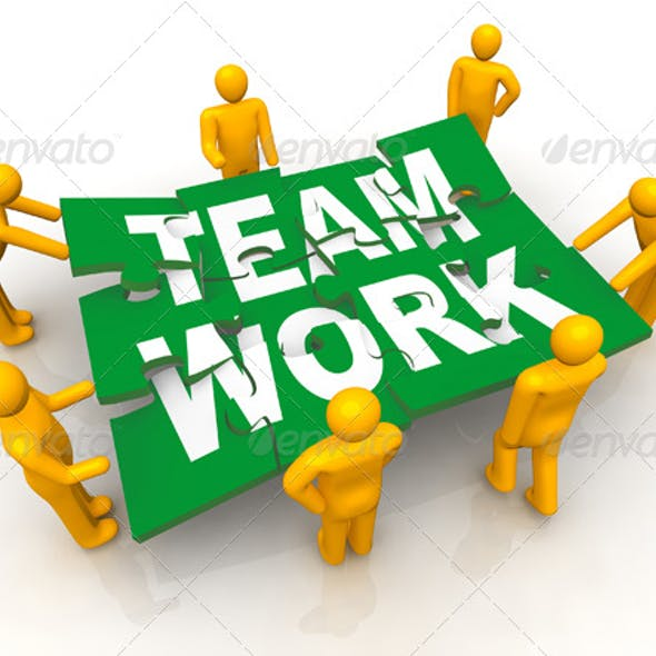 Group of Men Assembling Team Work Puzzle
