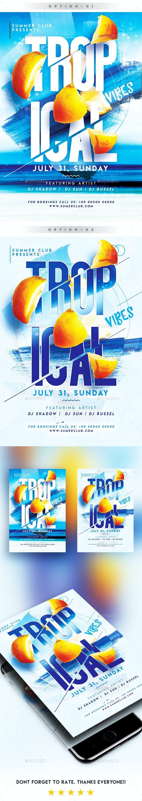 2 in 1 - Tropical Summer Vibes Party Flyer/Poster - Clubs & Parties Events