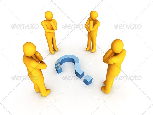 Four Men and Question Symbol - Characters 3D Renders