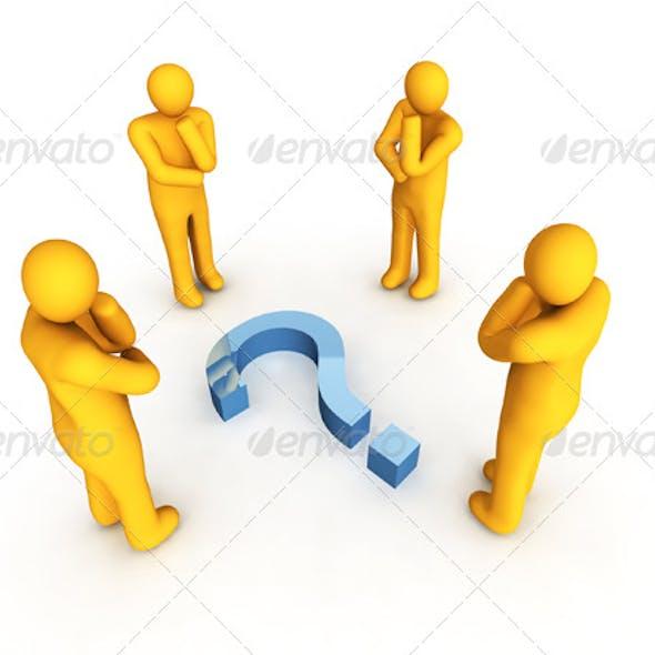 Four Men and Question Symbol