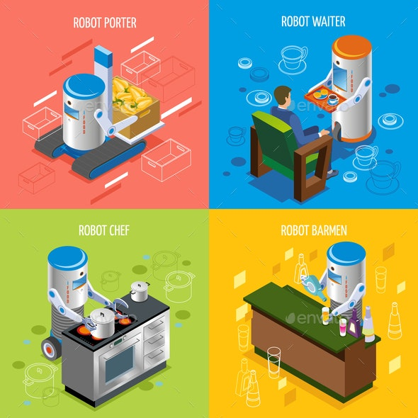 Isometric Robotic Restaurant Icon Set - Food Objects