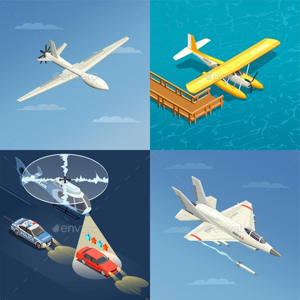 Airplanes Helicopters Design Concept - Industries Business