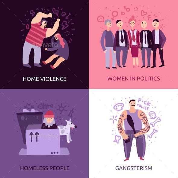 Social Problems 2x2 Design Concept