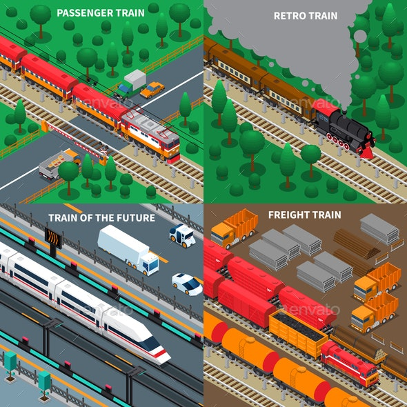 Trains Isometric Design Concept - Industries Business