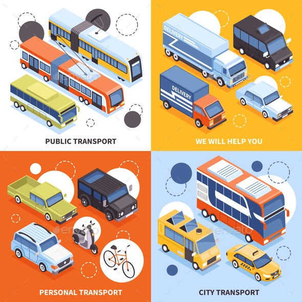 Transport Isometric Design Concept - Man-made Objects Objects