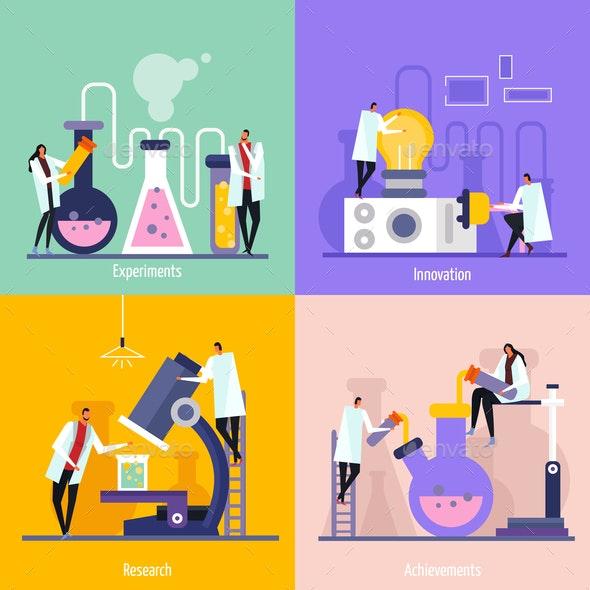 Science Lab Flat Design Concept - Miscellaneous Vectors