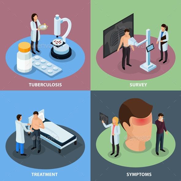 Tuberculosis Prevention Concept Icons Set - Health/Medicine Conceptual