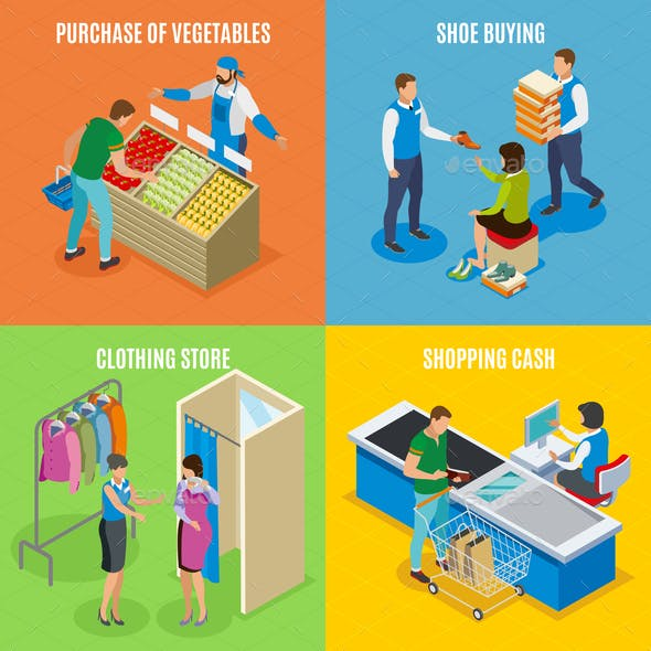 Shopping People Isometric Design Concept