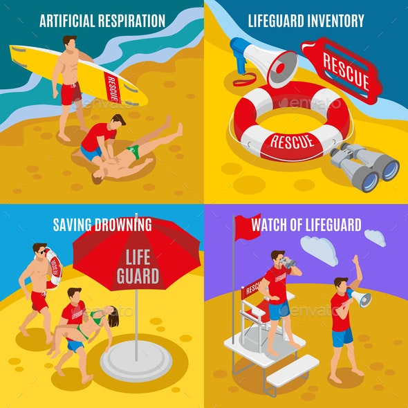 Beach Lifeguards 2x2 Design Concept - Industries Business
