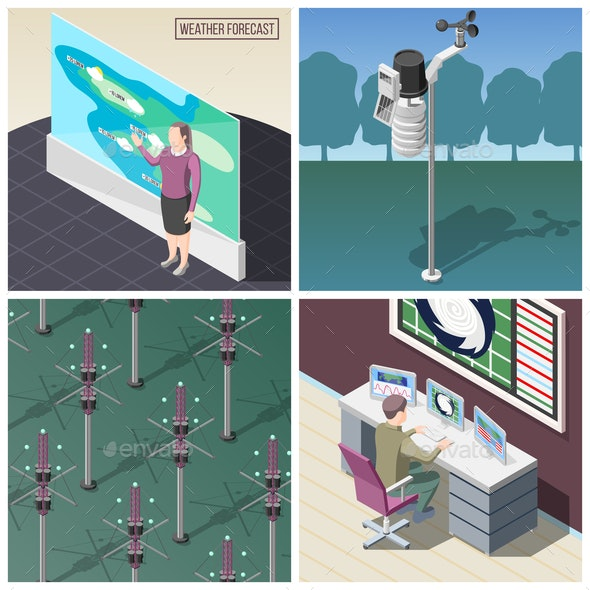 Weather Forecaster Isometric Concept - Computers Technology