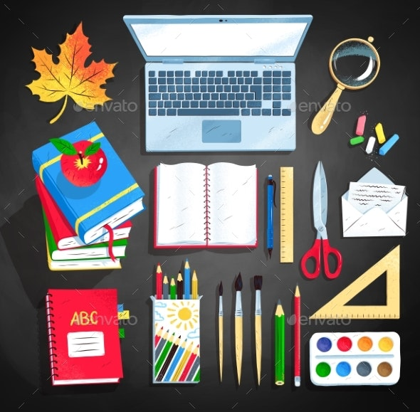 Vector Set of Office and Education Supplies - Miscellaneous Vectors
