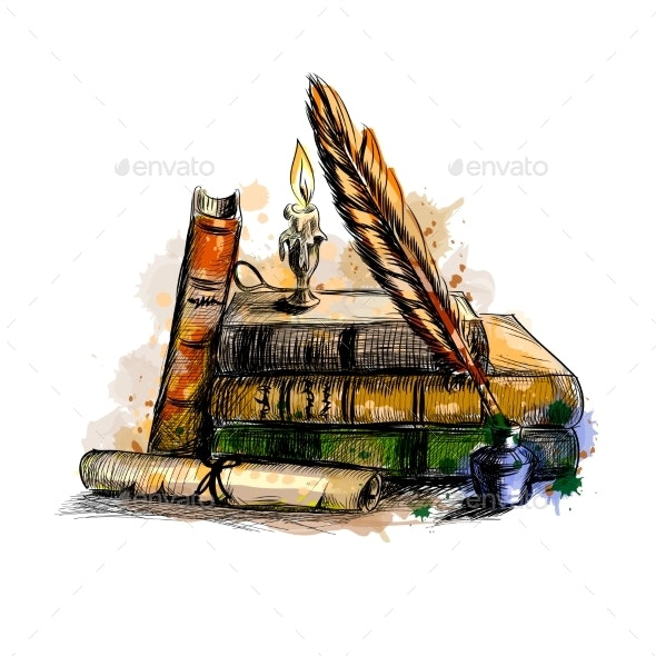 Stack of Books, Scroll, Pen and Candle - Miscellaneous Vectors