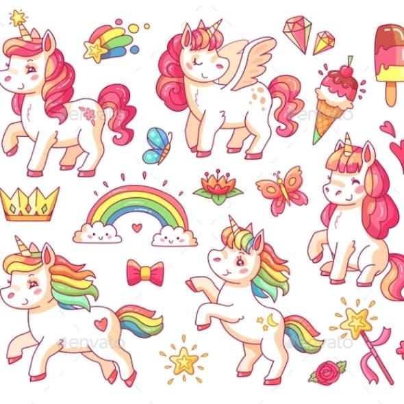 Flying Baby Rainbow Unicorn with Gold Stars