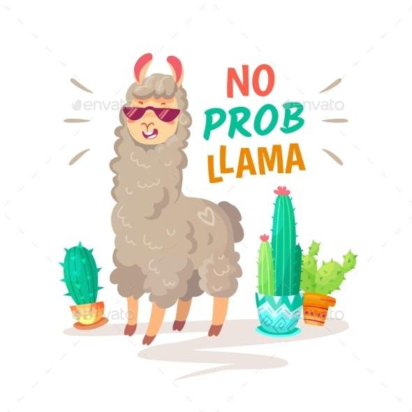 Cool Alpaca Lettering Quote with No Prob Llama