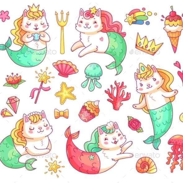 Mermaid Kitty Cat Cartoon Characters. Underwater