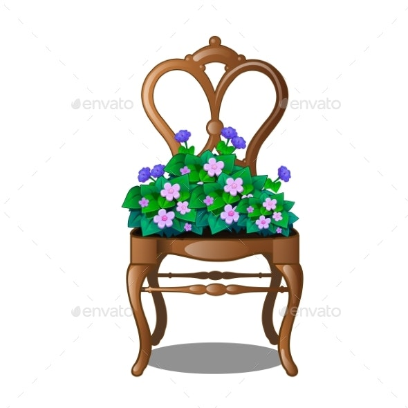 Vintage Wooden Chair with Flowers - Flowers & Plants Nature