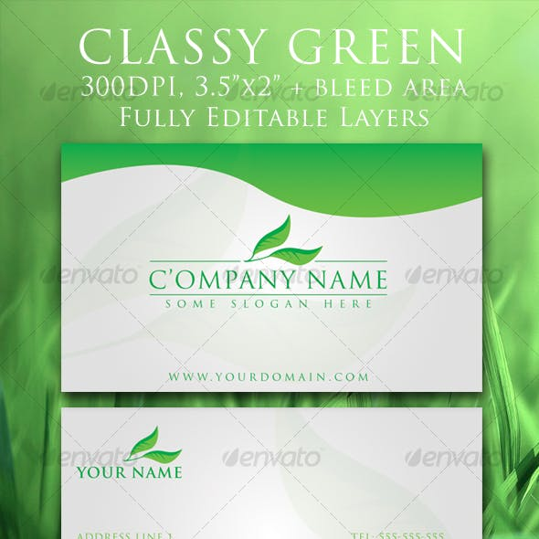 Classy Green Elegant Business Card