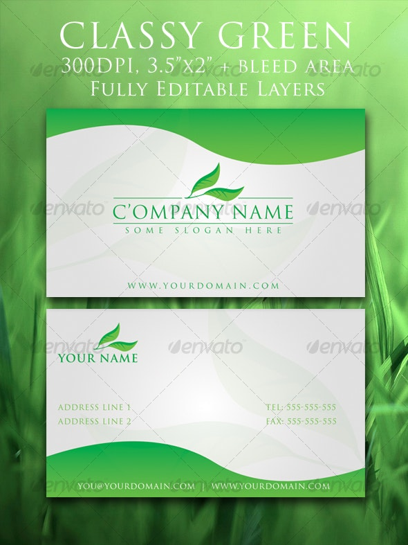Classy Green Elegant Business Card - Industry Specific Business Cards