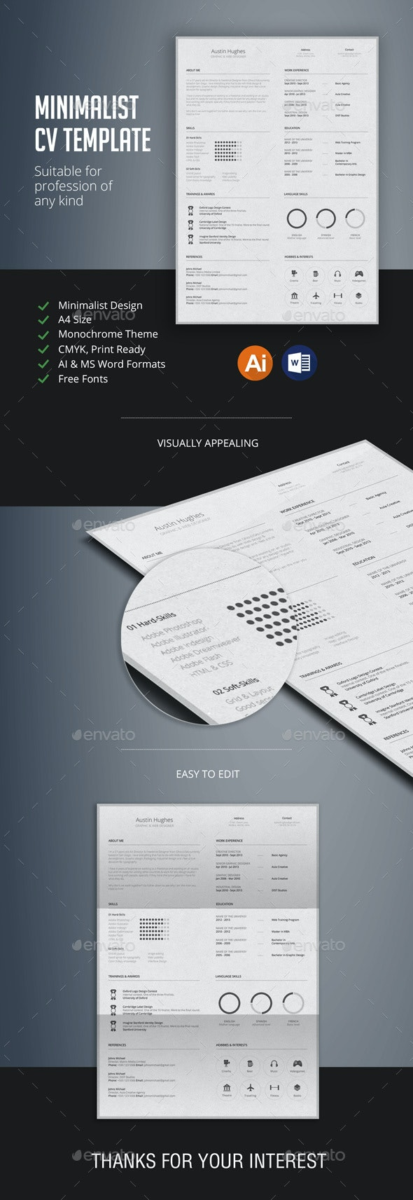 Minimalist CV Template - Resumes Stationery