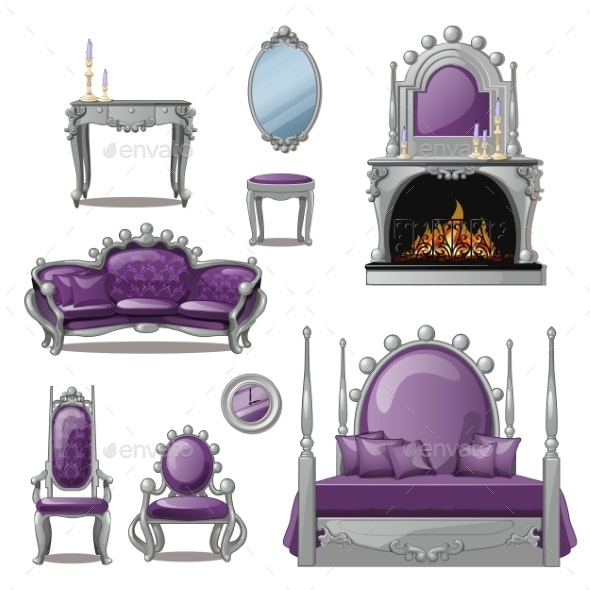 Set of Furniture and Accessories for Living Room - Man-made Objects Objects