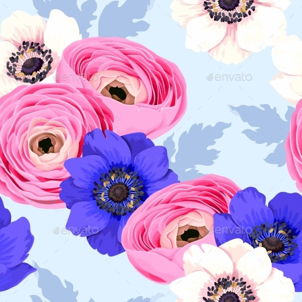 Seamless Pattern with Anemones and Ranunculus - Flowers & Plants Nature
