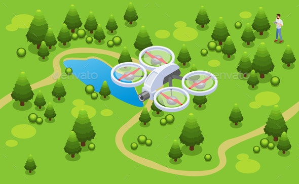 Isometric Drone Shooting Video Concept - People Characters